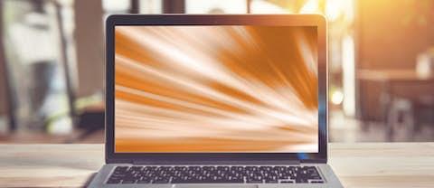 Laptop with orange screen