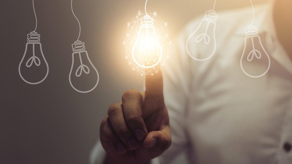 Glühbrine als Zeichen für Innovation